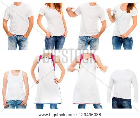white t shirt and apron  on a young man and woman