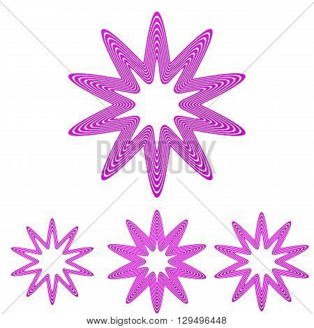 Magenta line star shape logo design set