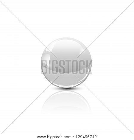 Glass ball of white. The object for design. Glossy ball. Volumetric ball. Vector illustration