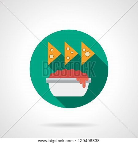 Tomato sauce in bowl and nachos with long shadow. Recipes of traditional Mexican cuisine. Spicy food, restaurant menu. Round flat color vector icon. Web design element for site, mobile and business.