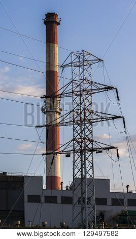 Industrial power plant with smokestack. Industrial landscape