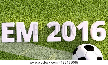 3d render of a soccer ball on a grass pitch em 2016
