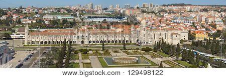 Lisbon, Portugal - March 03, 2016: Panorama of the Belem district of Lisbon showing the Praca do Imperio, Museu de Marinha, Museu Nacional de Argueologia, Mosterro dos Jeronimos and Estadio Munipal.