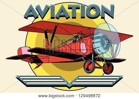 Retro two-winged plane aviation poster pop art retro style. Retro aeroplane. vintage aviation vector