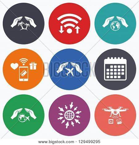 Wifi, mobile payments and drones icons. Hands insurance icons. Palm trees symbol. Travel trip flight insurance symbol. World globe sign. Calendar symbol.