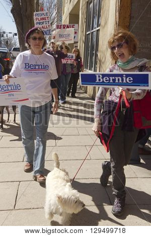 Asheville, North Carolina, USA - February 28, 2016: A crowd of enthusiastic Bernie Sanders supporters and various dogs march through Asheville holding signs during a political rally on February 28, 2016 in downtown Asheville, NC