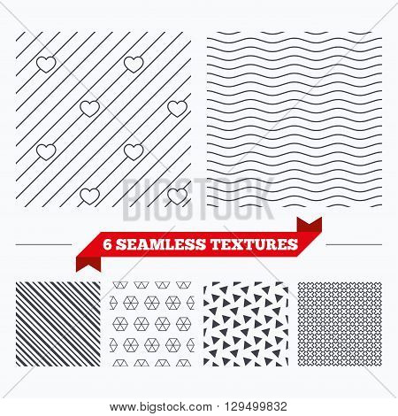Diagonal lines, waves and geometry design. Hearts lines texture. Stripped geometric seamless pattern. Modern repeating stylish texture. Material patterns.