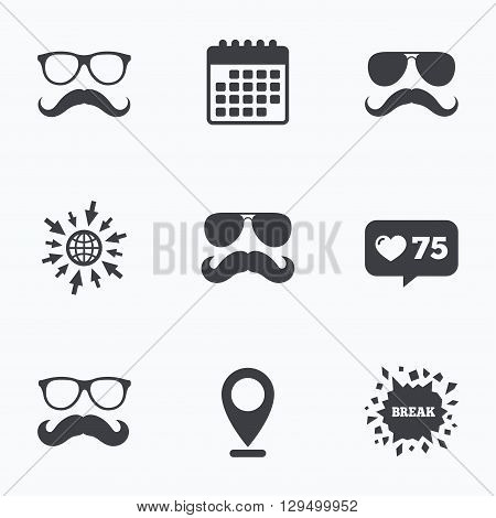 Calendar, like counter and go to web icons. Mustache and Glasses icons. Hipster symbols. Facial hair signs. Location pointer.