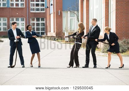 Happy Male And Female Businesspeople Playing Tug Of War