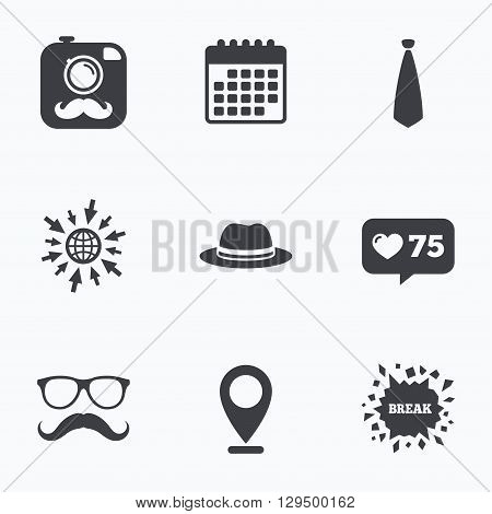 Calendar, like counter and go to web icons. Hipster photo camera with mustache icon. Glasses and tie symbols. Classic hat headdress sign. Location pointer.