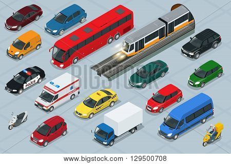 Car icons. Flat 3d isometric high quality city transport car icon set. Car, van, cargo truck,  off-road, bus, scooter, motorbike, riders. Transport set. Set of urban public and freight transport