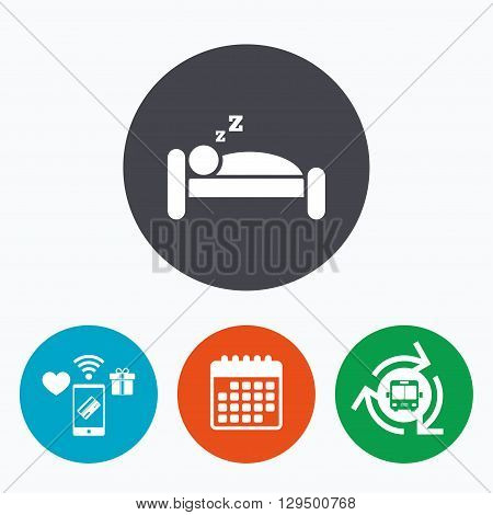 Hotel apartment sign icon. Travel rest place. Sleeper symbol. Mobile payments, calendar and wifi icons. Bus shuttle.
