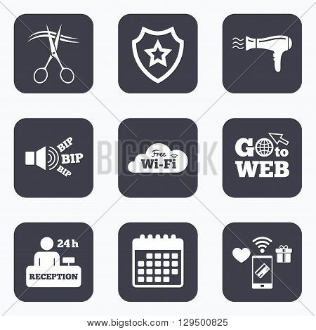 Mobile payments, wifi and calendar icons. Hotel services icons. Wi-fi, Hairdryer in room signs. Wireless Network. Hairdresser or barbershop symbol. Reception registration table. Go to web symbol.