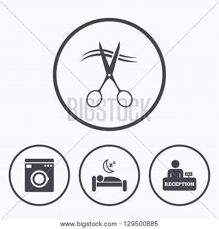 Hotel services icons. Washing machine or laundry sign. Hairdresser or barbershop symbol. Reception registration table. Quiet sleep. Icons in circles.