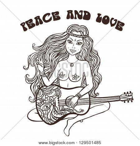 Hippie girl.Hippie style Ornamental background. Love and Music with hand-written fonts, hand-drawn doodle background and textures. Hippy color vector illustration. Retro 1960s, 60s, 70s