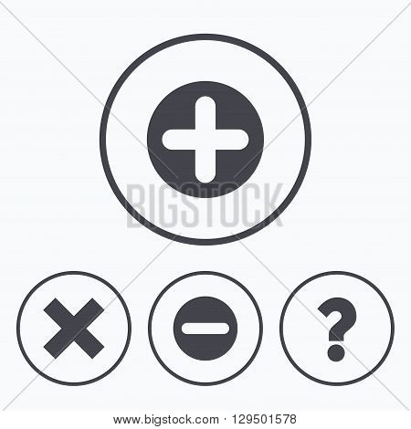 Plus and minus icons. Delete and question FAQ mark signs. Enlarge zoom symbol. Icons in circles.