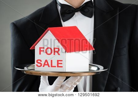 Close-up Of Waiter Holding Plate With House Model For Sale