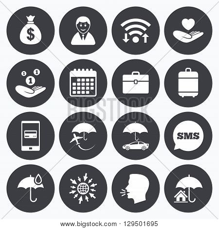 Wifi, calendar and mobile payments. Insurance icons. Life, Real estate and House signs. Saving money, vehicle and umbrella symbols. Sms speech bubble, go to web symbols.