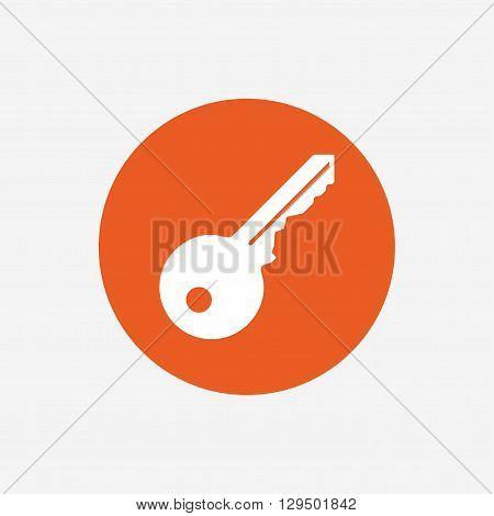 Key sign icon. Unlock tool symbol. Orange circle button with icon. Vector