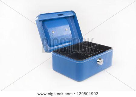 Blue cash box isolated against white backround