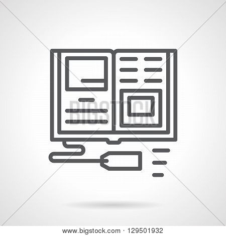 Open textbook with price tag. Publication and sale of educational books, scientific literature for school. Digital marketing, Simple black line vector icon. Single element for web design, mobile app.