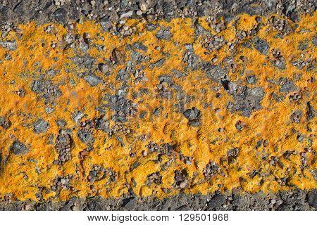 Yellow worn markings on the asphalt road.
