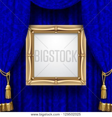 Blue ornamental curtain background with a suspended gold classic frame. Square presentation artistic poster and placard. Vector illustration