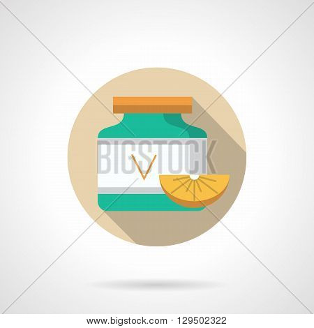 Green vitamins plastic jar with letter V, citrus slice. Supplements to diet and treatment. Pharmacy and drugstore. Round flat color vector icon. Web design element for site, mobile and business.