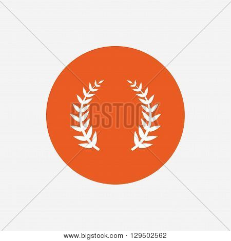 Laurel Wreath sign icon. Triumph symbol. Orange circle button with icon. Vector