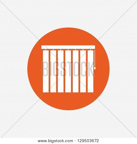 Louvers vertical sign icon. Window blinds or jalousie symbol. Orange circle button with icon. Vector
