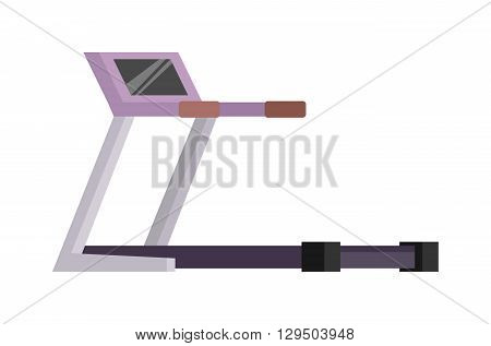 Treadmill isolated on white background. Treadmill vector illustration and sport treadmill running road equipment. Treadmill fitness sport gym and healthy treadmill sport equipment. Physical wellness.