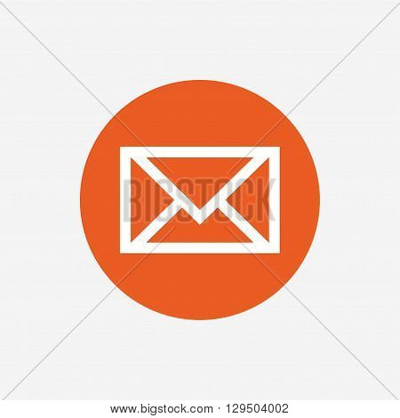 Mail icon. Envelope symbol. Message sign. Mail navigation button. Orange circle button with icon. Vector