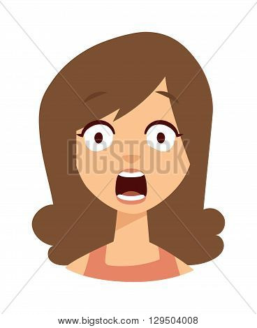 Women scary face open mouth vector character illustration. Woman scary face open mouth and women scary face expression girl. Fear portrait women scary face emoticon crazy horror. Shock scared people.