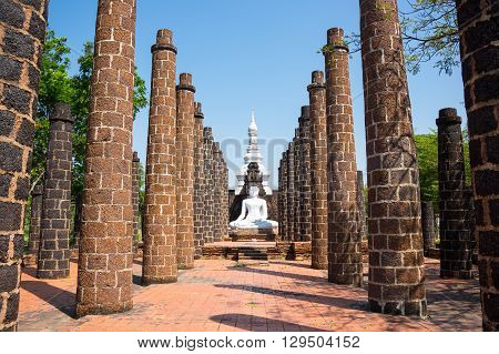 Buddha between columns in Ancient Siam (also known as Ancient City or Mueang Boran) Samut Prakan province Thailand