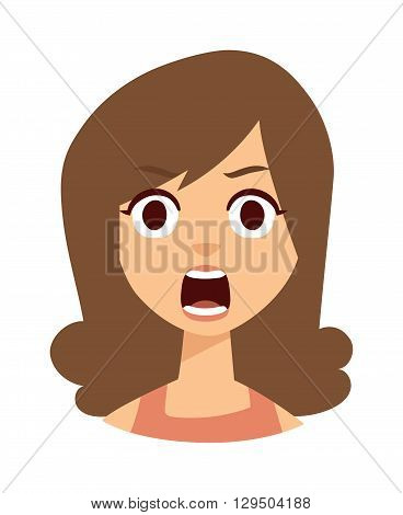 Portrait of surprised beautiful girl open mouthed. Woman shocked vector and woman shocked character people avatar. Woman shocked beautiful face and surprise woman shocked pretty expression people.