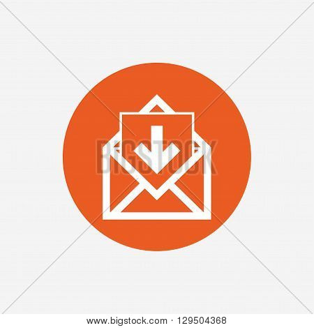 Mail icon. Envelope symbol. Inbox message sign. Mail navigation button. Orange circle button with icon. Vector