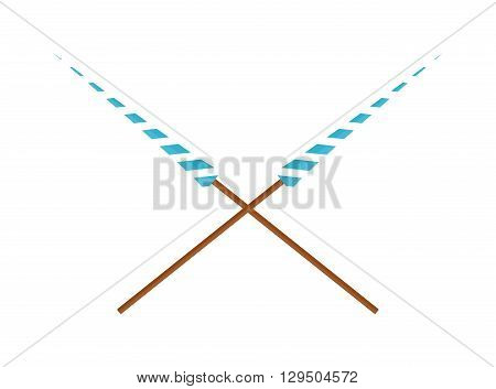 Two crossed lances wooden design vector illustration. Spear lance weapon, medieval warrior lance. History wood knight lance and lance hero joust chivalry fighter tournament battle lance weapon.
