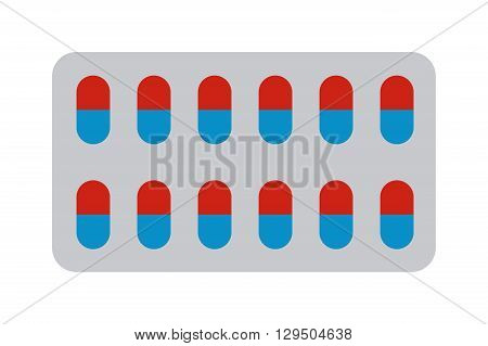 Medical pills in blister pack isolated on white background. Pills blister vector illustration and pills blister health medical tablet pack. Pills blister health medical pack tablet vitamin antibiotic.