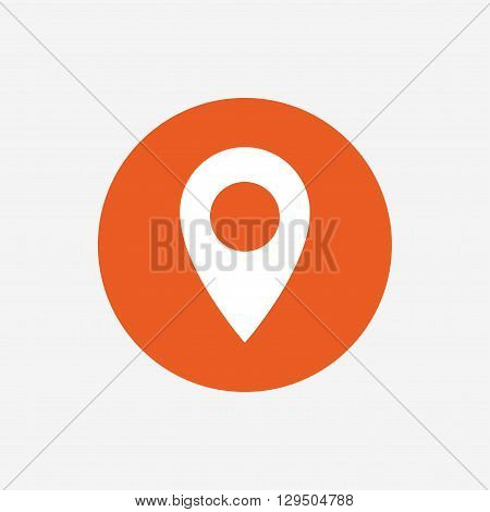 Map pointer icon. GPS location symbol. Orange circle button with icon. Vector