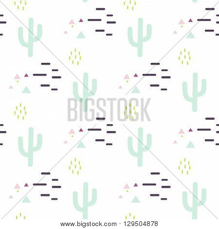 Mint and white cactus desert seamless pattern. Cacti and lines tribal boho background. Fabric print design. Succulent textile surface.