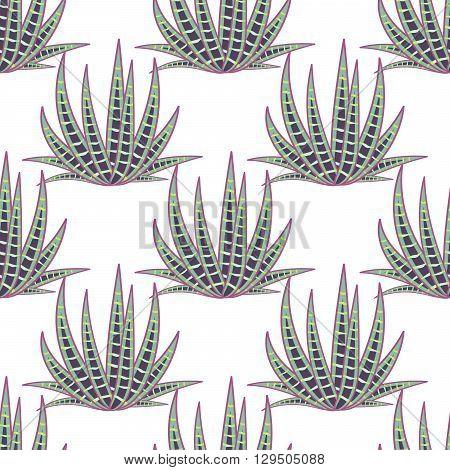 Agave succulent desert seamless pattern. Green botany aloe vera plantation vector background.