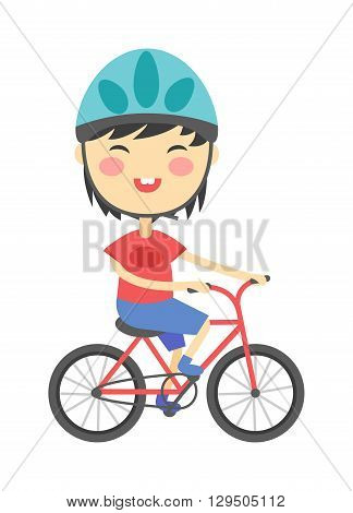 Kids riding bikes, child riding bike, kids on bicycle spring activity vector. Girl on bike on a white background and girl on bike female young happy people. Summer lifestyle beautiful girl on bike.