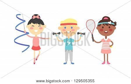 Illustration of cartoon kids sports characters. Sport kids childhood, team group happy person and sport kids outdoors play fun summer cute game. Sport kids cheerful kid vector sport game leisure.