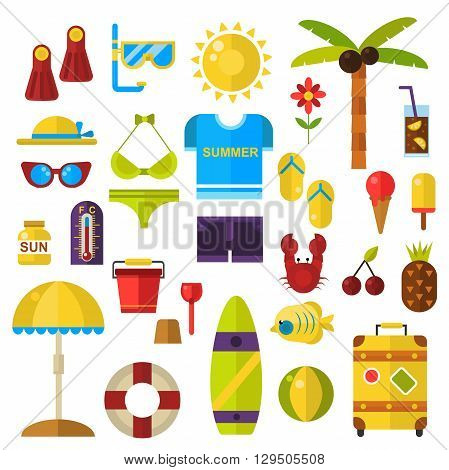 Stylized icons beach set summer symbols vector icons. Summer symbols travel sun sea and vacation set summer symbols. Summer symbols tourism, nature tropical summer symbols flat icons.