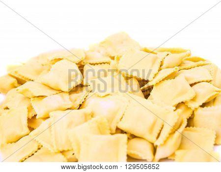 ravioli isolated on white background, pile, ravioli,