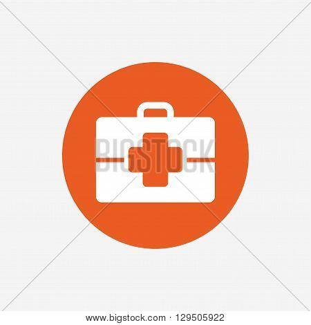 Medical case sign icon. Doctor symbol. Orange circle button with icon. Vector