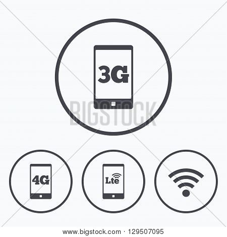 Mobile telecommunications icons. 3G, 4G and LTE technology symbols. Wi-fi Wireless and Long-Term evolution signs. Icons in circles.