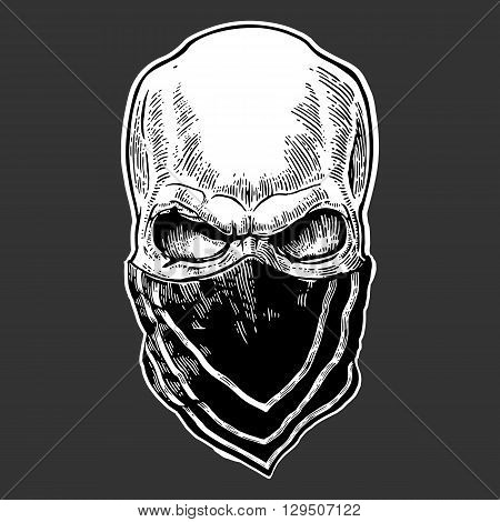 Skull with bandana. Black vintage vector illustration. For poster and tattoo biker club. Hand drawn design element isolated on dark background