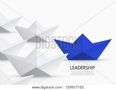 Vector modern concept leadership background. blue and white origami boat.