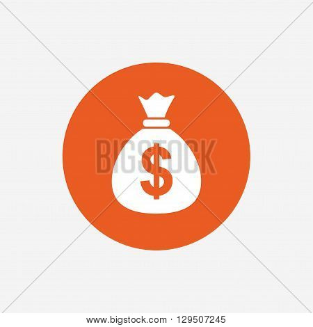 Money bag sign icon. Dollar USD currency symbol. Orange circle button with icon. Vector